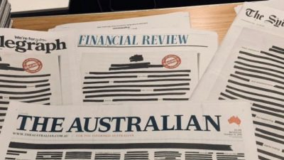 Permalink to:Australian Newspapers Redact Front Pages in Media Freedom Campaign