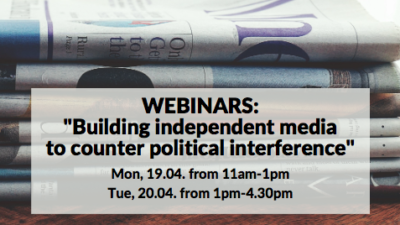 banner for political interference in media event